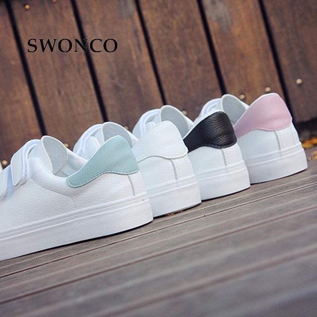 SWONCO Women's Vulcanize Shoes Sneakers Candy Color Hook & Loop Canvas Shoes White Sneakers Women Rubber Sole Ladies Shoe