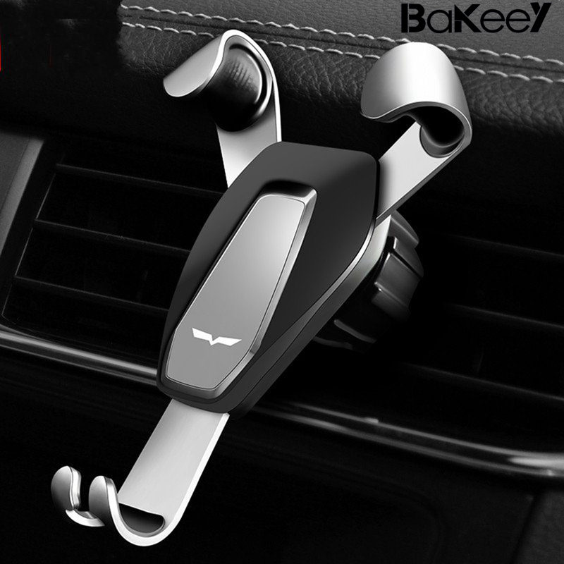 Bakeey Gravity Linkage Auto Lock Rotated Car Phone Holder Air Vent Phone Stand for Mobile Phone Black Silver Gold