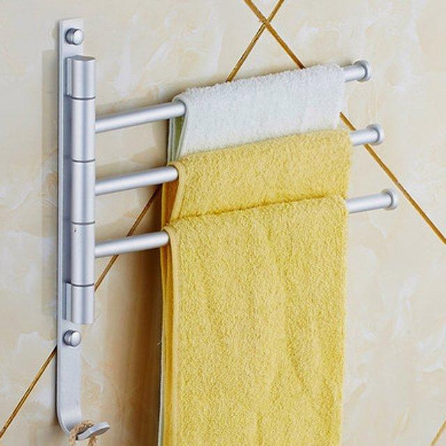 LHLL Wall Mounted Towel Rack 3 Rotary Bar Bathroom Towels Holder Hanger