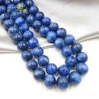 Lii Ji уникальные натуральные камни Кианит 14 мм круглые бусины DIY ювелирных изделий ожерелье или браслет около 39 см