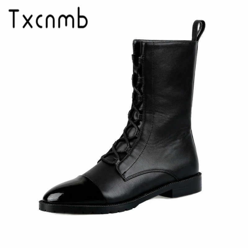 TXCNMB 2019 Stiefel Frauen Stiefeletten für Frauen Winter Kuh Echtes Leder Platz Ferse Schwarz Schuhe Frau Lace-up