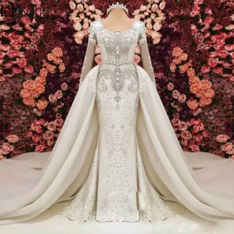 Luxury Mermaid Wedding Dress With Detachable Train Long Sleeves