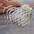 Kalen Multi-strand Square Women Bangles 7pcs/set  Tri-Color Silver Color Gold Rose Gold Plated Stainless Steel Bangle Bracelet