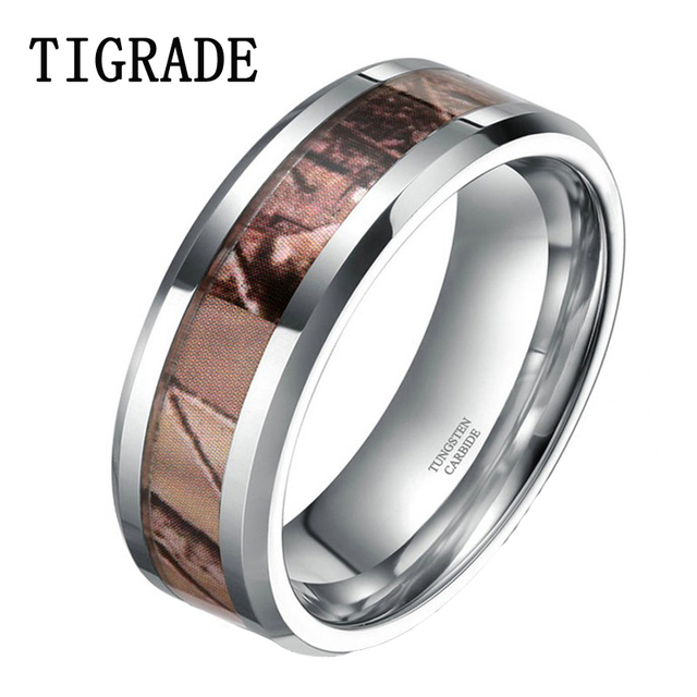6mm Autumn Leaves Tungsten Carbide Ring Camouflage Hunting Polished Wedding Band Engagement Rings For Men Finish