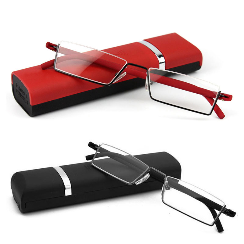 Flexible Black Tr90 Half Frame Semi Rimless Reader Reading Glasses With Case F05