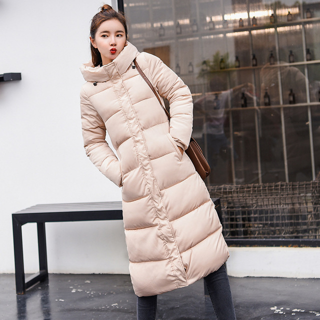 Dreawse Winter Self-Cultivation Hooded Wadded Cotton Jacket Printing Long Over The Knee Thick Cotton Women Tide Warm Coat MZ2972