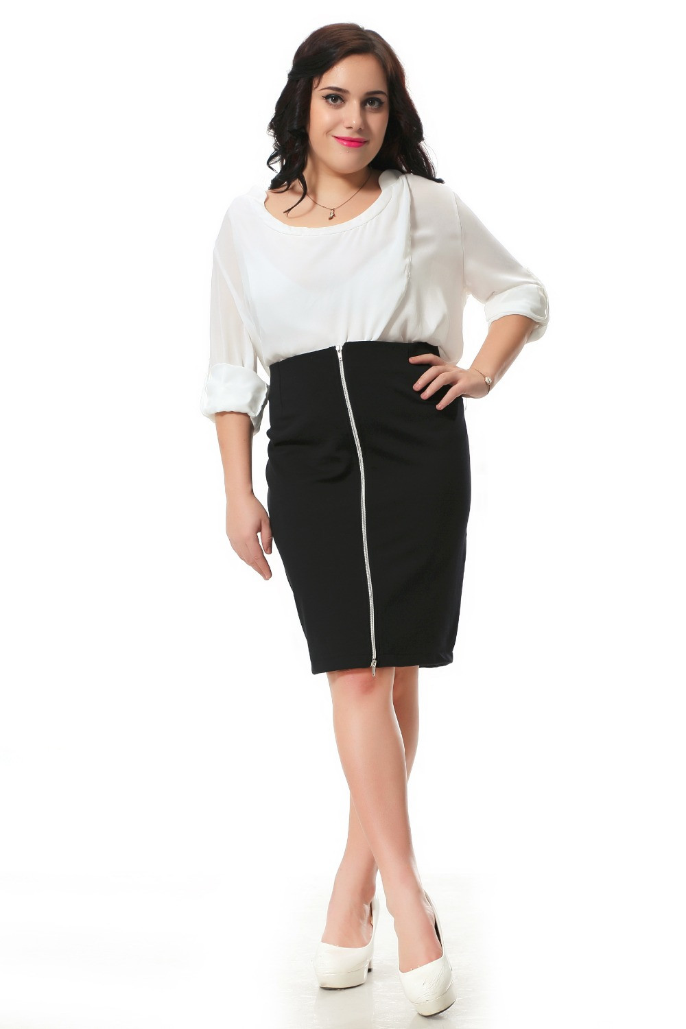 Plus Size Skirt With Zip Decoration In Front Sexy Pencil Skirt Women