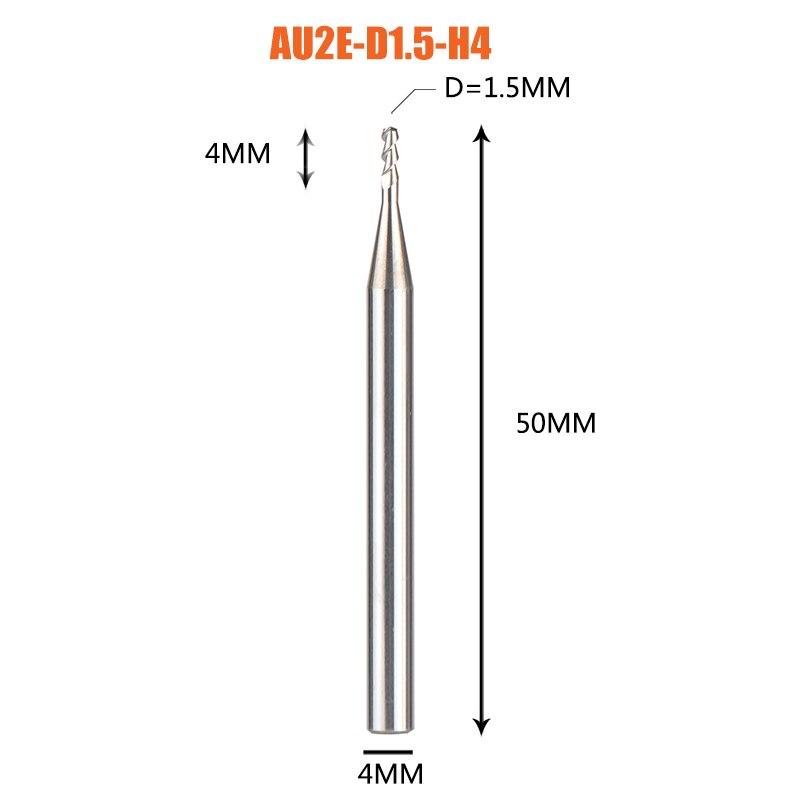 1 pc 3 флейты фрезы вольфрамового сплава концом ЧПУ фреза алюминий фреза для алюминия и деревообрабатывающие - Длина режущей кромки: 1PC-AU2E-D1.5-H4
