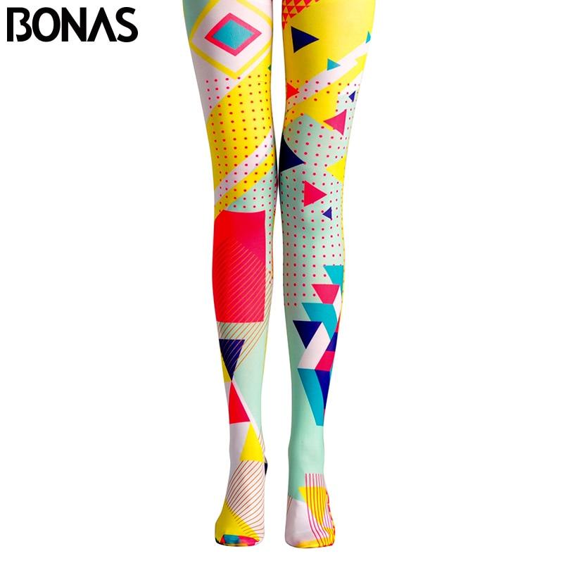 BONAS Pop Art Pantyhose Geometry 3D Print Hit Color Tights Elastic Strumpfhose Female Collant Streetwear Nylon