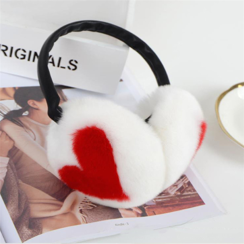 Women Girl Winter 100% Rabbit Hair Warm Earmuffs Ear Muffs Earwarmers Heart Pattern Stitching Color Earlap Warmer Headband