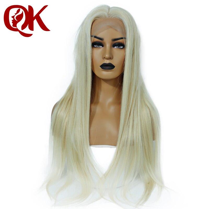 QueenKing dei capelli di Densità 180% Europeo Capelli Umani di Remy Anteriore Parrucche Del Merletto Bionda 613 di Seta Parrucca diritta per le Donne di Trasporto libero