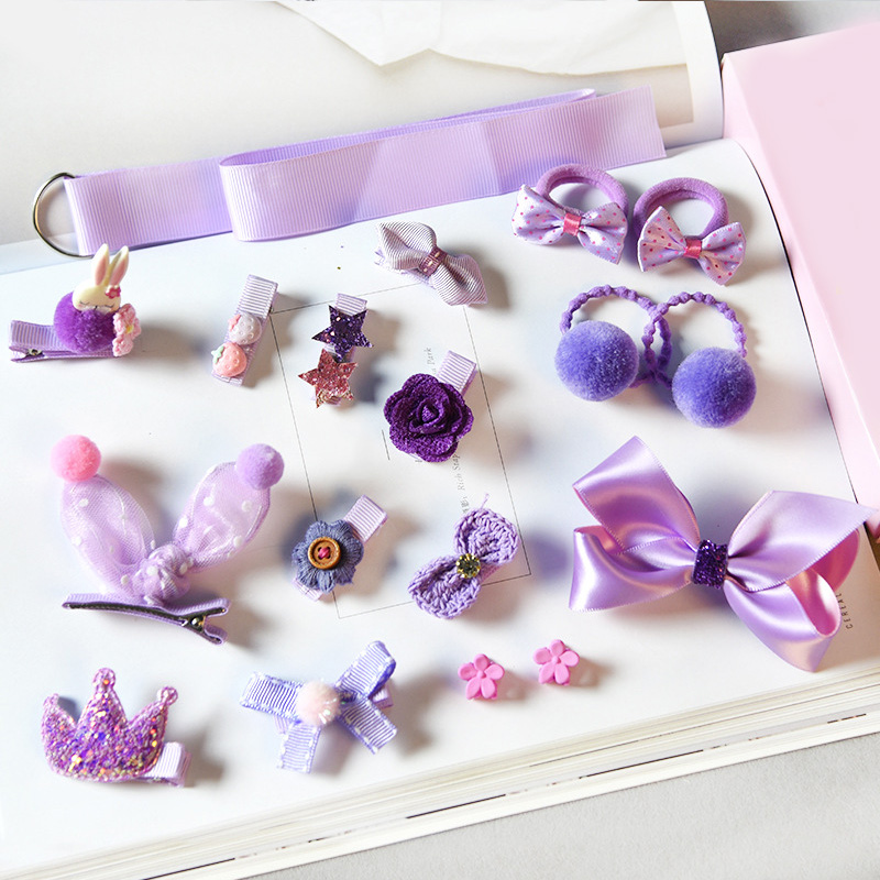 Купить с кэшбэком Sale 18Pcs/set Pink Elastic Bear Rabbit Child Hair Rope Bow Kids Hair Clip Baby Hairpins
