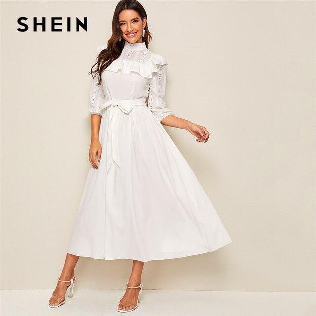 SHEIN Mock neck Rüschen Trim Selbst Belted Kleid Frauen Frühling Herbst Lange Kleid Fit und Flare EINE Linie Elegante reich Kleider