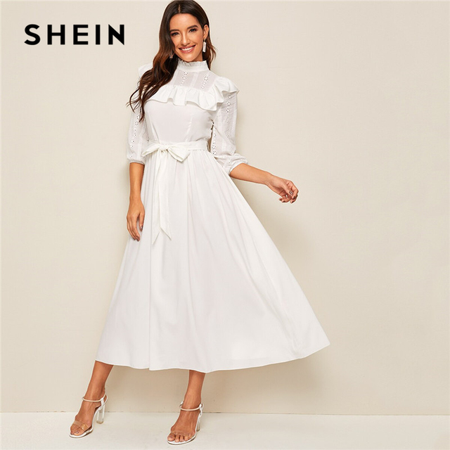 SHEIN Mock neck Ruffle Trim Self Belted Dress Women Spring Autumn Long Dress Fit and Flare A Line Elegant Empire Dresses