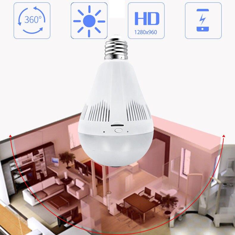 LED inalámbrico 960P 360 cámara domo Wi fi FishEye Mini CCTV VR Cámara bombilla