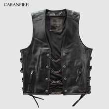 CARANFIER Mens Genuine Leather Rock Vests Metal Chain Biker Vest Motorcycle Sleeveless Real Jackets DHL Free Shipping