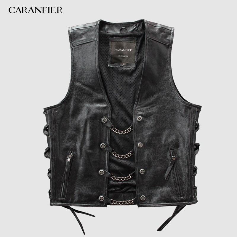 Chalecos de cuero genuino para hombre, Chaleco de motociclista de cadena de Metal, sin mangas, chaquetas de cuero auténtico DHL envío gratis