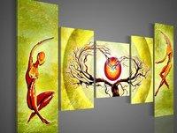 Pintado a mano pintura de pared verde pálido sol árbol bailando decoración casera pintura al óleo abstracta en la lona 5 unids/set enmarcado