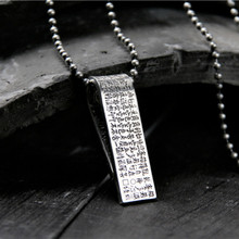 Beautiful 925 Sterling Silver Carved Buddhism Words Strip Heart Sutra Lucky Pendant For Fashion Jewelry Necklace