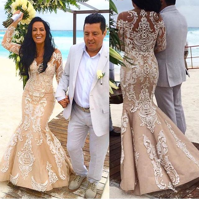 Arabic Champagne Wedding Dresses Mermaid Beach Wedding Dress Long Sleeve Appliques Lace Plus Size Gothic Wedding Gown For Chubby