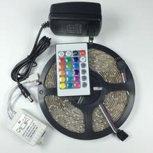 Tira de luz LED RGB de 5 M 3528 SMD 300 LEDs 60 LED/M Luz de guirnalda de Navidad   controlador IR de 24 teclas   adaptador de corriente 12 V 2 a