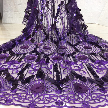 Madison Purple African Lace Fabric 2019 High Quality Lace Material With Sequins French Nigerian Mesh Tulle Lace Fabric For Dress