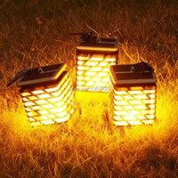 Outdoor Solar power garden lantern decoration flame light waterproof Portable led solar garden torch candle energy flaming lamp