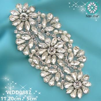 (30PCS )Wholesale bridal beaded sewing crystal rhinestone applique iron on for wedding dress  WDD0887
