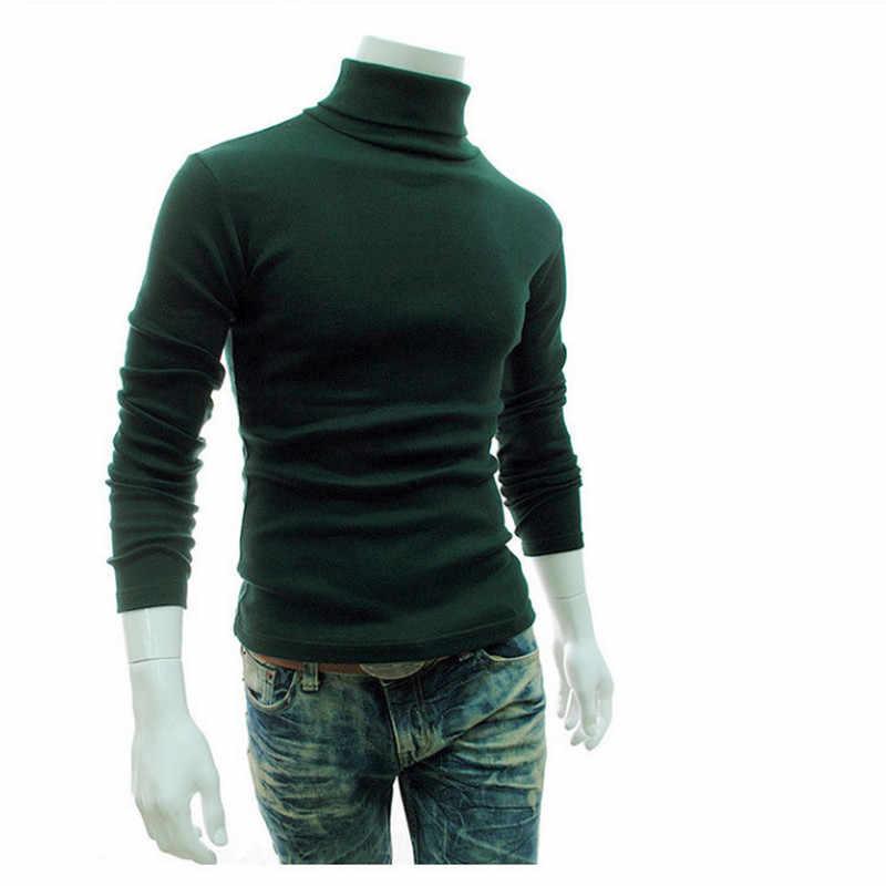 Erkek Kazak 2019 Yeni Sonbahar Kış erkek Slim Fit Ince Marka Örme Kazaklar Erkek Balıkçı Yaka Katı Renk Casual Kazak