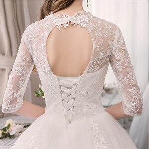 Image 5 - Real photo Luxury Lace Embroidery 2020 Wedding Dress Muslin Half Sleeve Sweet Elegant Plus Size Bride Gowns Vestido De Noiva