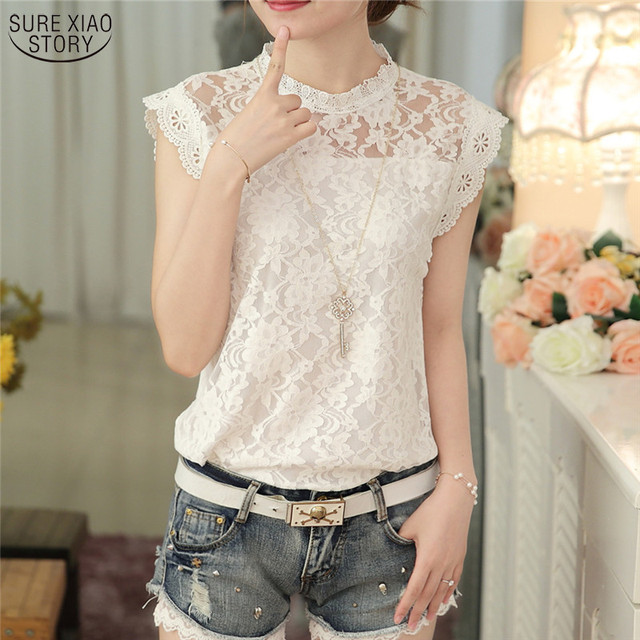 New 2017 Korean Style Fashion Summer Loose Sleeveless White Gray Female Blouse Slim Elegant Lace Women Shirt Plus Size 59G 30