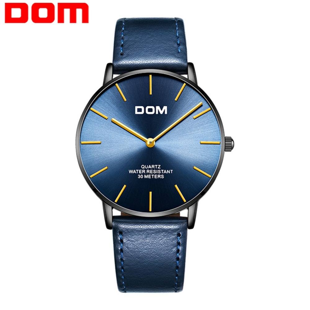 DOM Watches Men Fashion Waterproof Top Brand Leather Quartz Men's Watches Minimalist Watch For Men Relogio Masculino M-36BL-2MT