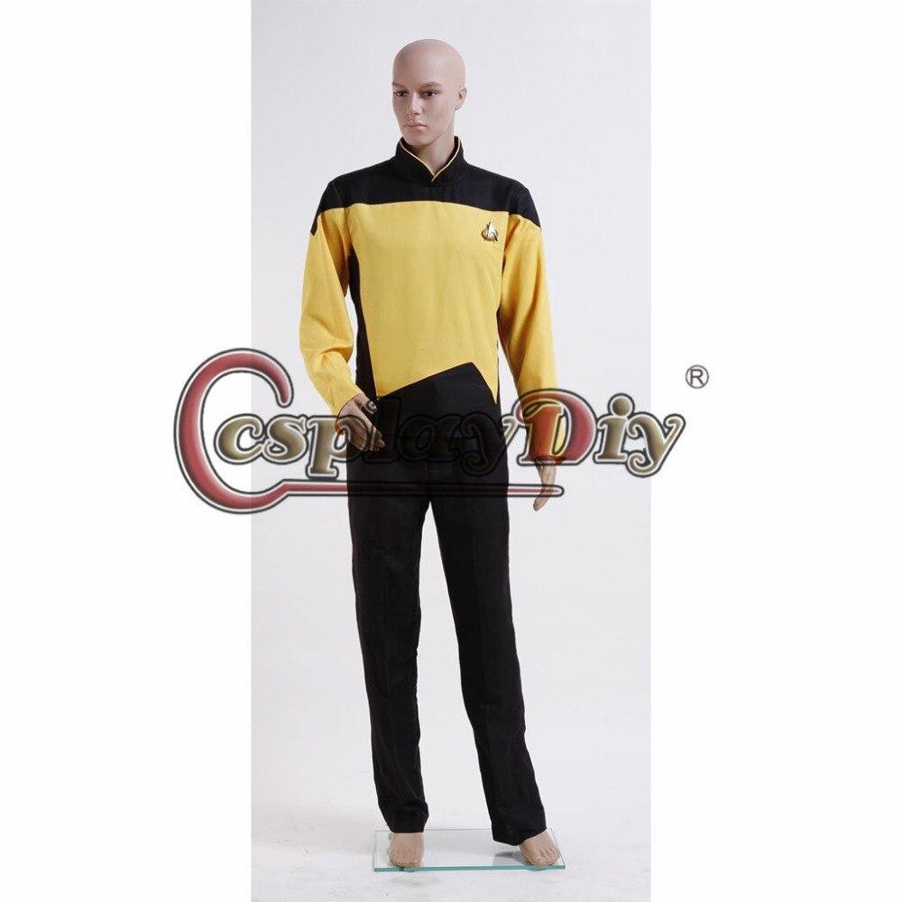 Cosplaydiy Custom Made Star Trek TNG The Next Generation Uniform Set Yellow Adult Men Halloween Carnival Cosplay Costume J5