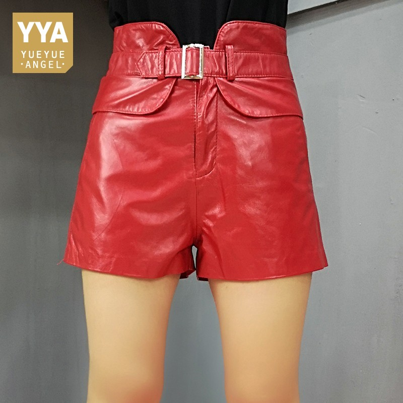 Fashion High Waist Shorts For Women Genuine Leather Sexy 2019 Autumn Winter Casual Slim Fit Korean Female Mini Leather Shorts
