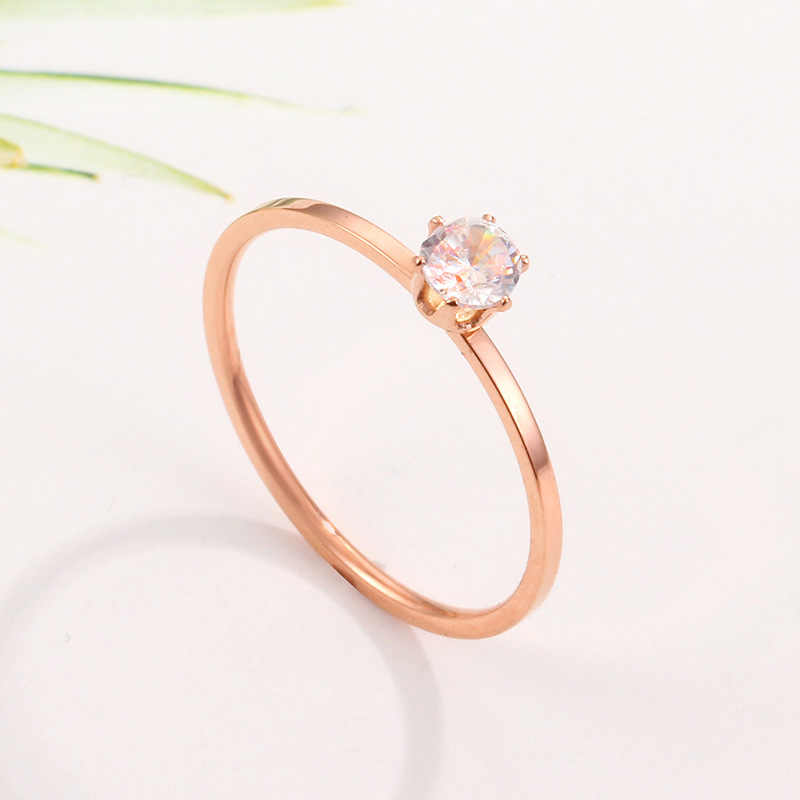 Classic Luxury Brand Jewelry Rose Gold Color Six Claws Single Crystal Wedding Rings For Women Stainless Steel Anillos Mujer