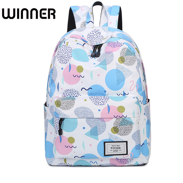 5d90f92c2a94 Winner Brand Cute Lady Canvas Waterproof Backpack Lovely Printing Fresh  School Backpacks for Teenage Girls