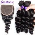 8A onda solta Malaio com fecho de cabelo humano tecer 4 Melhor cabelo virgem Malaio com Fecho de pacotes com fecho Solto onda