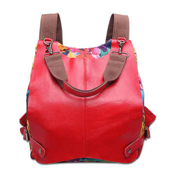 Women Multifunctional Genuine Leather Backpack Travel Casual Canvas Backpack Floral Rucksack Large School Bag For Teen Mochila