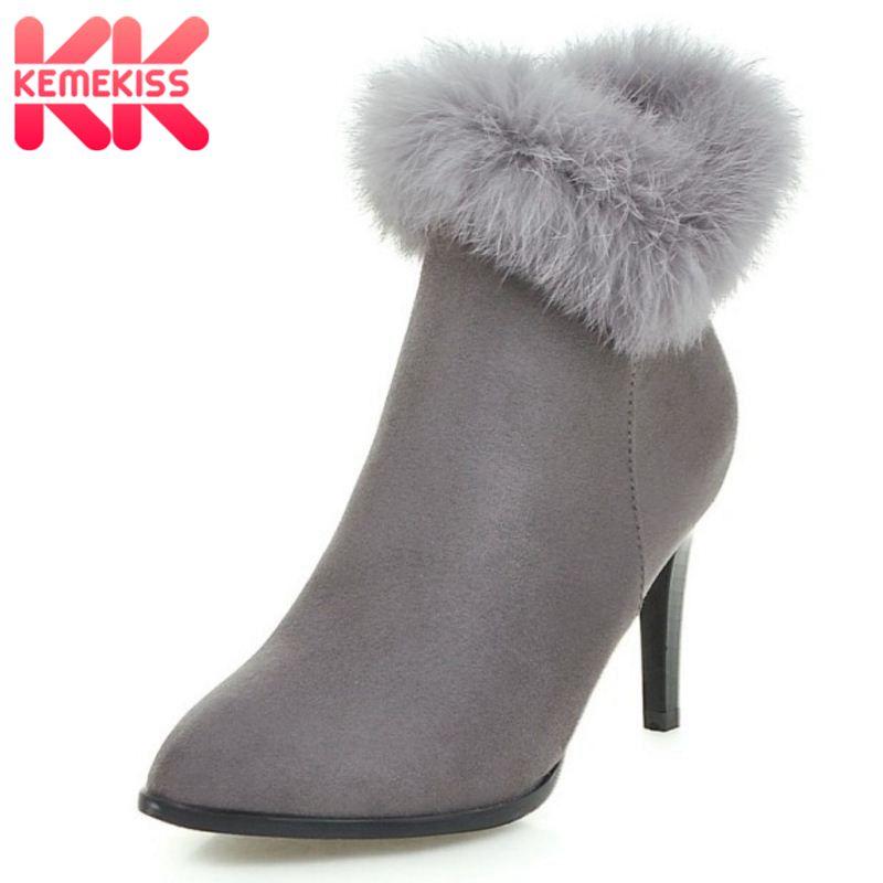 KemeKiss Women Elegant Dress Party Shoes Thin High Heels Botas Women Fur Ankle Boots Pointed Toe Less Platform Shoes Size 34-43