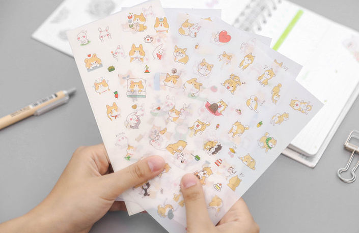 6pcs Cute rabbit dog sticker Organizer Calendar Diary Book Planner Sticker Scrapbook Decoration papeleria sale