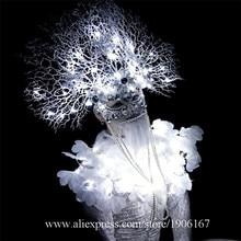 Мода Ds белые ветви Белый Светодиодный Фонари костюмы танцевальная команда Костюмы вечерние Хэллоуин производительность DJ певица танцовщица Экипировка