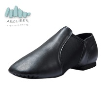 Salsa Latin Dance Shoes Women Men Genuine Leather Slip-On Black and Tan Flat Heel 0.4 Inch Size 35-45