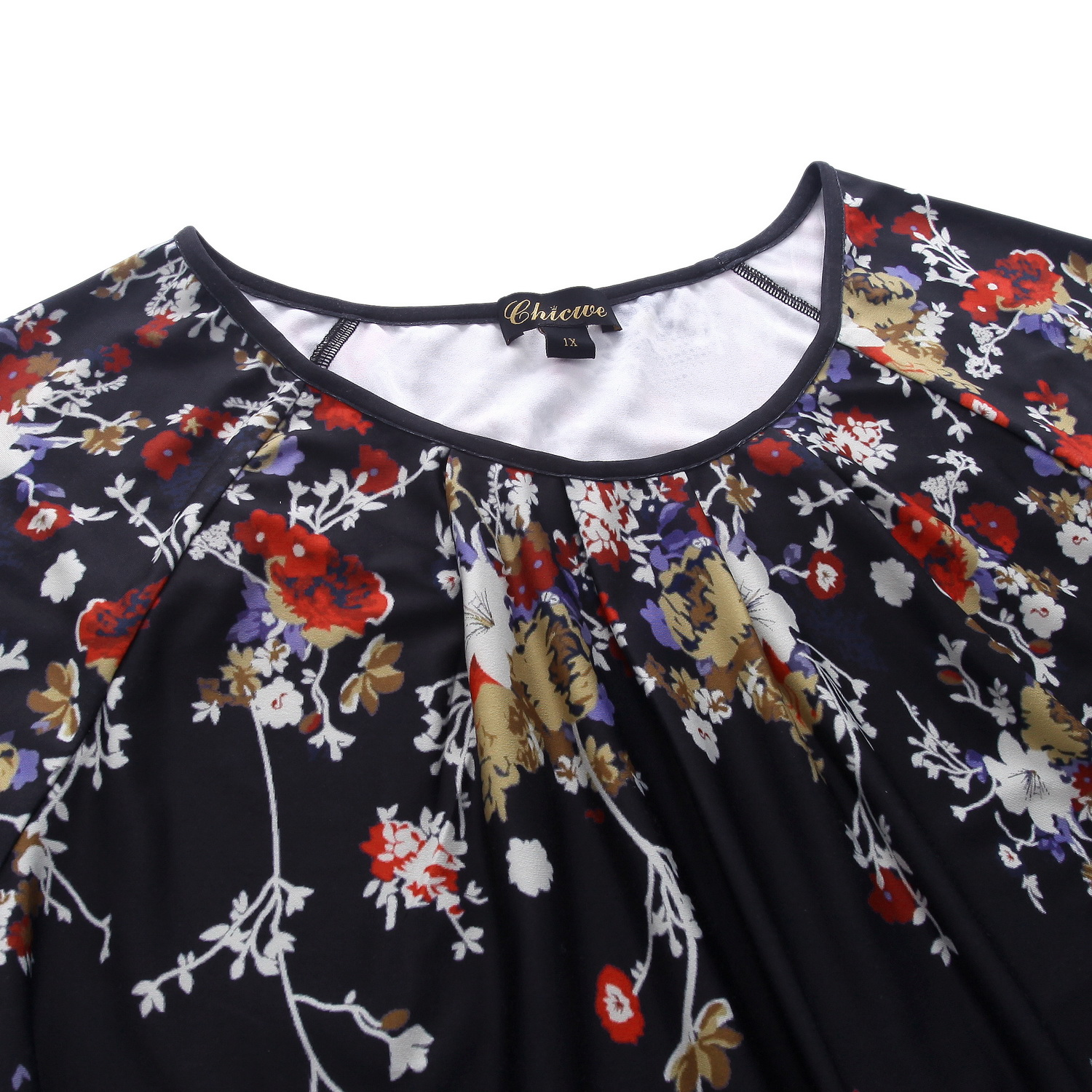 bd2f0498e5c99 Chicwe Women s Plus Size Stretch Floral Designed Top Shirt Large Size Big  Size Garden Flowers Tunic with Neck Pleats 1X 4X-in Blouses   Shirts from  Women s ...