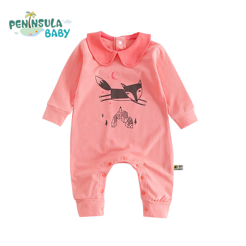 Newborn Baby Girls Clothes Cartoon Fox Printed Cotton Infant One Pieces Jumpsuits Long Sleeve Lolita Cute Baby Boys Rompers 2016 hot baby rompers boys girls cartoon short sleeve baby rompers cotton newborn baby clothes jumpsuits clothing mama printed