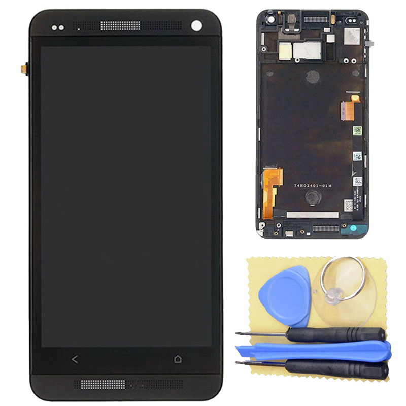 LCD Display Digitizer Touch Screen + Frame Assembly Black For HTC One M7 801e