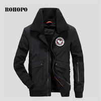 ROHOPO Fur collar cashmere inner winter man's bomber jacket thicknes,military male cool weather Punk Style deportes outwear coat