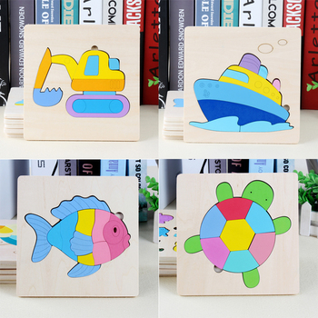 цена 3D Wooden Puzzle Jigsaw Toys For Children Wood 3d Cartoon Animal Puzzles Intelligence Kids Early Educational Toys for children онлайн в 2017 году