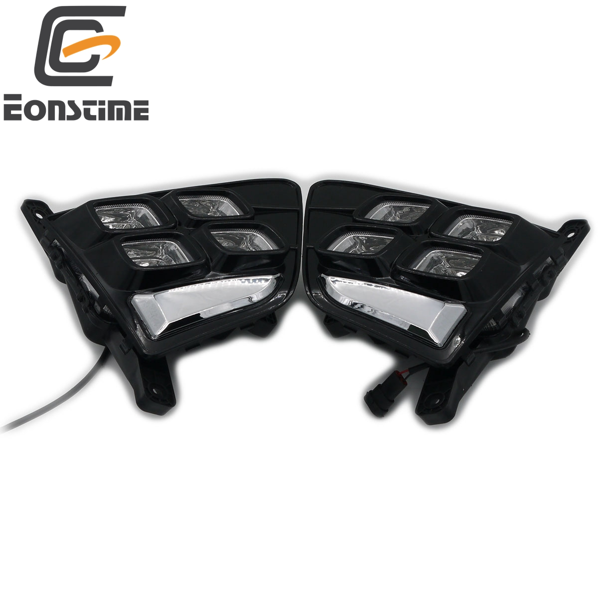 Eonstime 2pcs 12V Car DRL LED Daytime Running Light Front Fog lights For Hyundai Creta IX25 2015 2016 Auto Lamp Waterproof ABS eonstime 2pcs 12v car drl led daytime running light fog lights for ford mondeo fusion 2013 2014 2015 2016 car styling