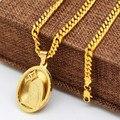 Chapado En oro de la Virgen María Colgante Hombres Collar de Cadena de Oro Amarillo Llenó Oval Católica Medalla Colgante de Hip Hop Collar de Moda