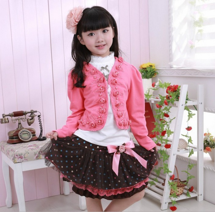 2015 Hot Sale Meninas Kids Clothing Sets Retail Autumn & Spring 3 Pieces(jackets+t-shirt+skirt) Suit, Flower Set,children Suits retail design children clothing set for kids girl dark blue cardigan t shirt pink skirt high quality 2014 new free shipping